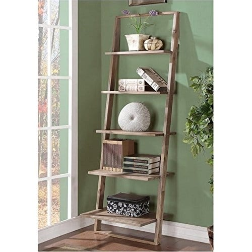 Beaumont Lane Leaning Bookcase In Smoky Driftwood 0 0