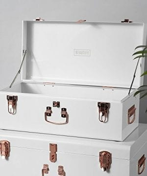 Beautify Cream Vintage Style Steel Metal Storage Trunk Set Lockable And Decorative With Rose Gold Handles College Dorm And Bedroom Footlocker Trunks 0 0 300x360