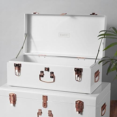 Beautify Cream Vintage Style Steel Metal Storage Trunk Set Lockable And Decorative With Rose Gold Handles College Dorm And Bedroom Footlocker Trunks 0 0