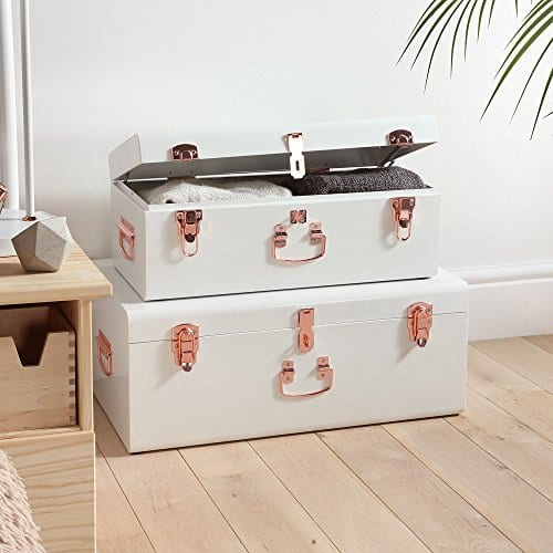 Beautify Cream Vintage Style Steel Metal Storage Trunk Set Lockable And Decorative With Rose Gold Handles College Dorm And Bedroom Footlocker Trunks 0 1