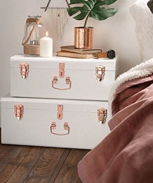 Beautify Cream Vintage Style Steel Metal Storage Trunk Set Lockable And Decorative With Rose Gold Handles College Dorm And Bedroom Footlocker Trunks 0 2 300x360