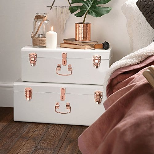 Beautify Cream Vintage Style Steel Metal Storage Trunk Set Lockable And Decorative With Rose Gold Handles College Dorm And Bedroom Footlocker Trunks 0 2