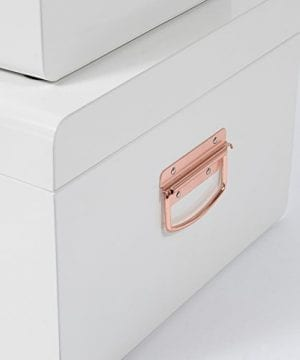Beautify Cream Vintage Style Steel Metal Storage Trunk Set Lockable And Decorative With Rose Gold Handles College Dorm And Bedroom Footlocker Trunks 0 5 300x360
