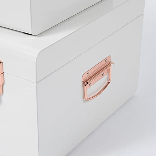 Beautify Cream Vintage Style Steel Metal Storage Trunk Set Lockable And Decorative With Rose Gold Handles College Dorm And Bedroom Footlocker Trunks 0 5