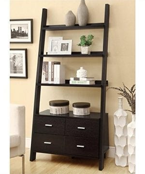 Bowery Hill Leaning Ladder Bookshelf With 2 Drawers In Cappuccino 0 300x360