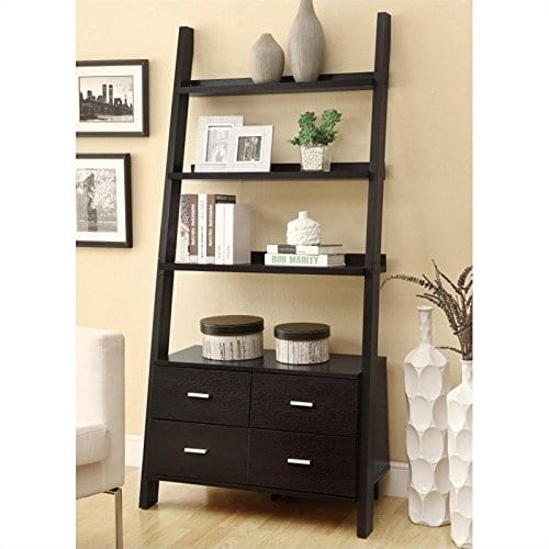 Bowery Hill Leaning Ladder Bookshelf With 2 Drawers In Cappuccino 0