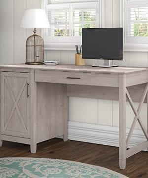 Bush Furniture Key West Collection 54W Single Pedestal Desk In Washed Gray 0 300x360