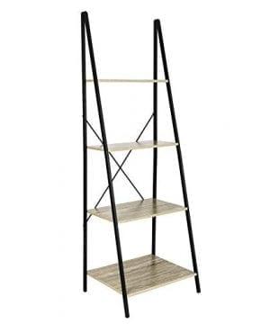 C Hopetree Ladder Shelf Bookcase Freestanding Plant Stand Lounge Room Home Office Bathroom Storage Vintage Wood Look Accent Display Furniture Metal Frame 0 0 300x360