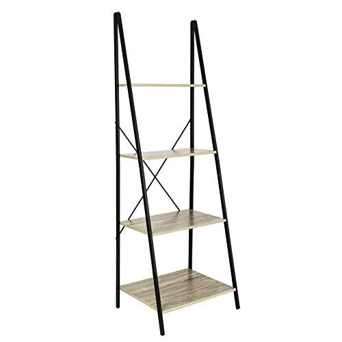 C Hopetree Ladder Shelf Bookcase Freestanding Plant Stand Lounge Room Home Office Bathroom Storage Vintage Wood Look Accent Display Furniture Metal Frame 0 0