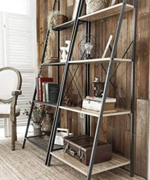 C Hopetree Ladder Shelf Bookcase Freestanding Plant Stand Lounge Room Home Office Bathroom Storage Vintage Wood Look Accent Display Furniture Metal Frame 0 1 300x360