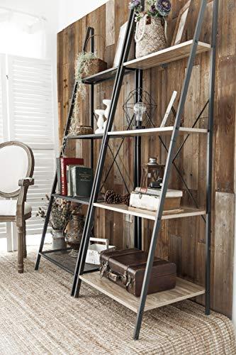 C Hopetree Ladder Shelf Bookcase Freestanding Plant Stand Lounge Room Home Office Bathroom Storage Vintage Wood Look Accent Display Furniture Metal Frame 0 1