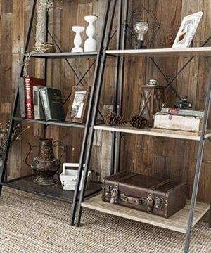 C Hopetree Ladder Shelf Bookcase Freestanding Plant Stand Lounge Room Home Office Bathroom Storage Vintage Wood Look Accent Display Furniture Metal Frame 0 2 300x360