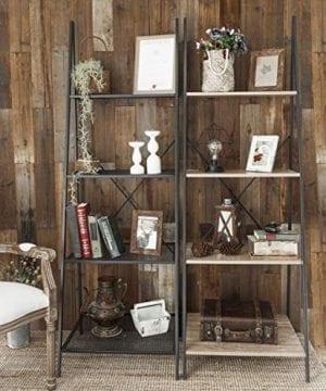 C Hopetree Ladder Shelf Bookcase Freestanding Plant Stand Lounge Room Home Office Bathroom Storage Vintage Wood Look Accent Display Furniture Metal Frame 0 3 300x360