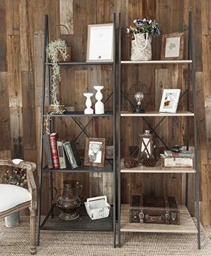 C Hopetree Ladder Shelf Bookcase Freestanding Plant Stand Lounge Room Home Office Bathroom Storage Vintage Wood Look Accent Display Furniture Metal Frame 0 3