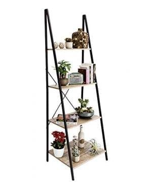 C Hopetree Ladder Shelf Bookcase Freestanding Plant Stand Lounge Room Home Office Bathroom Storage Vintage Wood Look Accent Display Furniture Metal Frame 0 300x360