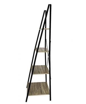 C Hopetree Ladder Shelf Bookcase Freestanding Plant Stand Lounge Room Home Office Bathroom Storage Vintage Wood Look Accent Display Furniture Metal Frame 0 4 300x360