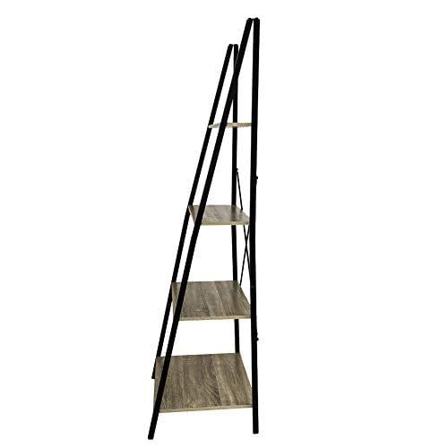 C Hopetree Ladder Shelf Bookcase Freestanding Plant Stand Lounge Room Home Office Bathroom Storage Vintage Wood Look Accent Display Furniture Metal Frame 0 4