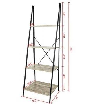 C Hopetree Ladder Shelf Bookcase Freestanding Plant Stand Lounge Room Home Office Bathroom Storage Vintage Wood Look Accent Display Furniture Metal Frame 0 5 300x360