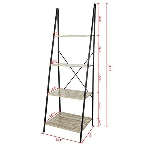 C Hopetree Ladder Shelf Bookcase Freestanding Plant Stand Lounge Room Home Office Bathroom Storage Vintage Wood Look Accent Display Furniture Metal Frame 0 5