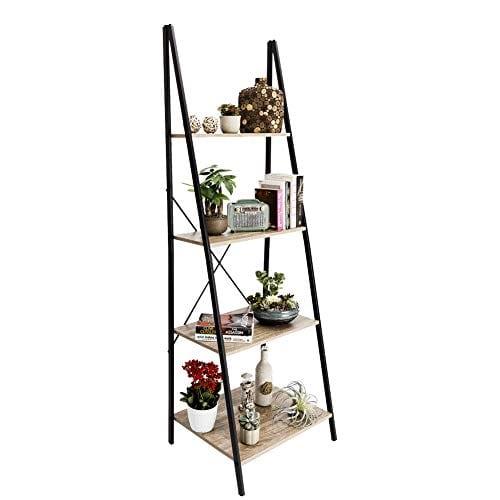 C Hopetree Ladder Shelf Bookcase Freestanding Plant Stand Lounge Room Home Office Bathroom Storage Vintage Wood Look Accent Display Furniture Metal Frame 0