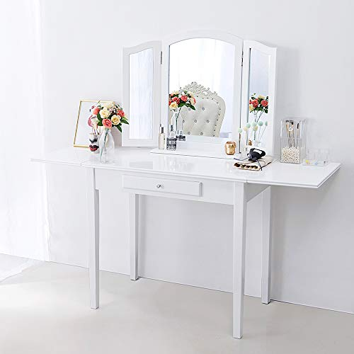 Chende White Makeup Vanity Table with Drawer and Drop Leaf for Bedroom  Bathroom, Wooden Writing Desk for Home Office Furniture, Folding Console  Table ...
