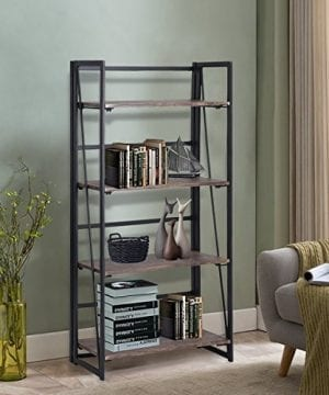 Coavas Folding Bookshelf Rack 4 Tiers Bookcase Home Office Shelf Storage Rack No Assembly Industrial Stand Sturdy Shelf Organizer 236 X 118 X 494 Inches 0 0 300x360
