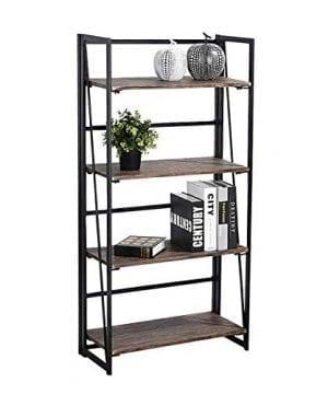 Coavas Folding Bookshelf Rack 4 Tiers Bookcase Home Office Shelf Storage Rack No Assembly Industrial Stand Sturdy Shelf Organizer 236 X 118 X 494 Inches 0 300x360