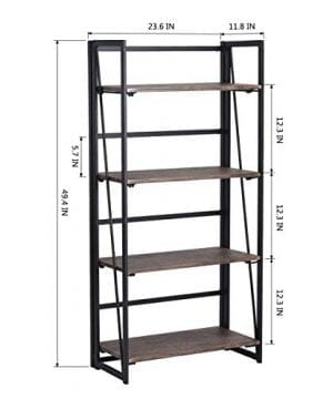 Coavas Folding Bookshelf Rack 4 Tiers Bookcase Home Office Shelf Storage Rack No Assembly Industrial Stand Sturdy Shelf Organizer 236 X 118 X 494 Inches 0 4 300x360