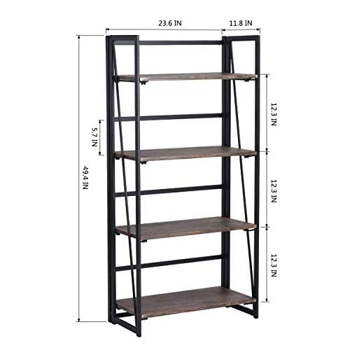 Coavas Folding Bookshelf Rack 4 Tiers Bookcase Home Office Shelf Storage Rack No Assembly Industrial Stand Sturdy Shelf Organizer 236 X 118 X 494 Inches 0 4