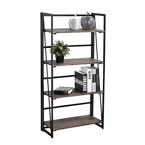 Coavas Folding Bookshelf Rack 4 Tiers Bookcase Home Office Shelf Storage Rack No Assembly Industrial Stand Sturdy Shelf Organizer 236 X 118 X 494 Inches 0