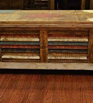 Crafters And Weavers Rustic Distressed Reclaimed Solid Wood Painted Trunk Coffee Table 0 0 300x333