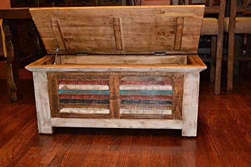 Crafters And Weavers Rustic Distressed Reclaimed Solid Wood Painted Trunk Coffee Table 0 1