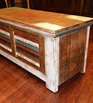 Crafters And Weavers Rustic Distressed Reclaimed Solid Wood Painted Trunk Coffee Table 0 2 300x333