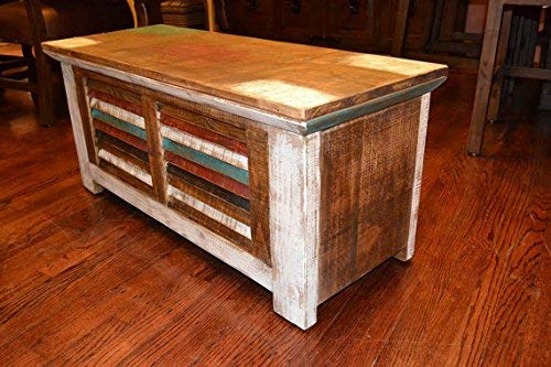 Crafters And Weavers Rustic Distressed Reclaimed Solid Wood Painted Trunk Coffee Table 0 2