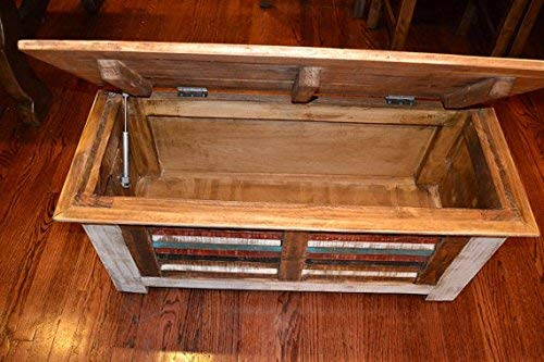 Crafters And Weavers Rustic Distressed Reclaimed Solid Wood Painted Trunk Coffee Table 0 3