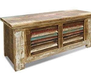 Crafters And Weavers Rustic Distressed Reclaimed Solid Wood Painted Trunk Coffee Table 0 300x258