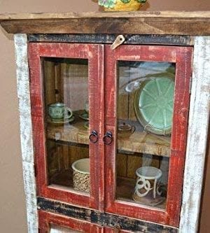 Crafters And Weavers Rustic Distressed Reclaimed Wood Curio Glass Cabinet Bookcase Hutch 0 0 300x333