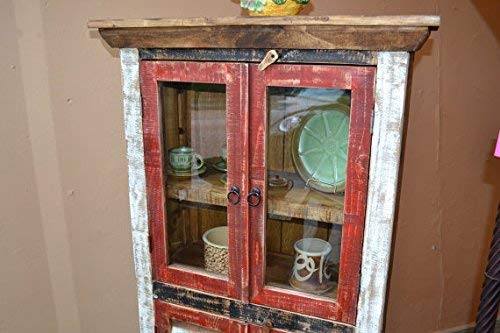 Crafters And Weavers Rustic Distressed Reclaimed Wood Curio Glass Cabinet Bookcase Hutch 0 0