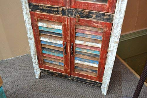 Crafters And Weavers Rustic Distressed Reclaimed Wood Curio Glass Cabinet Bookcase Hutch 0 1