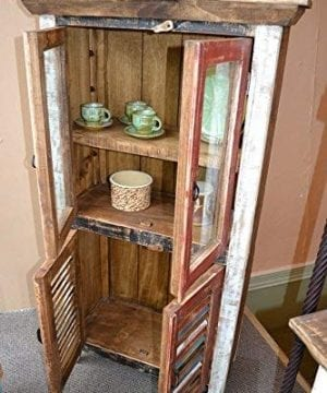 Crafters And Weavers Rustic Distressed Reclaimed Wood Curio Glass Cabinet Bookcase Hutch 0 2 300x360