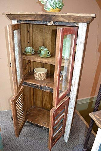 Crafters And Weavers Rustic Distressed Reclaimed Wood Curio Glass Cabinet Bookcase Hutch 0 2