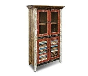 Crafters And Weavers Rustic Distressed Reclaimed Wood Curio Glass Cabinet Bookcase Hutch 0 300x258