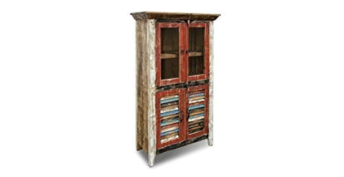 Crafters And Weavers Rustic Distressed Reclaimed Wood Curio Glass Cabinet Bookcase Hutch 0