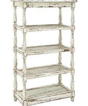 Deco 79 44419 Tall Distressed White Wood Bookshelf With Pierced Metal Interior Shelves Turned Column Frame 30 X 55 0 300x360