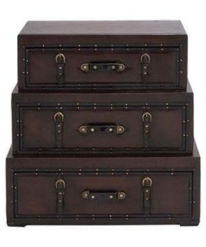 Deco 79 55734 Wood Leather Trunk Dresser 32 X 32 Brown 0 1 300x360