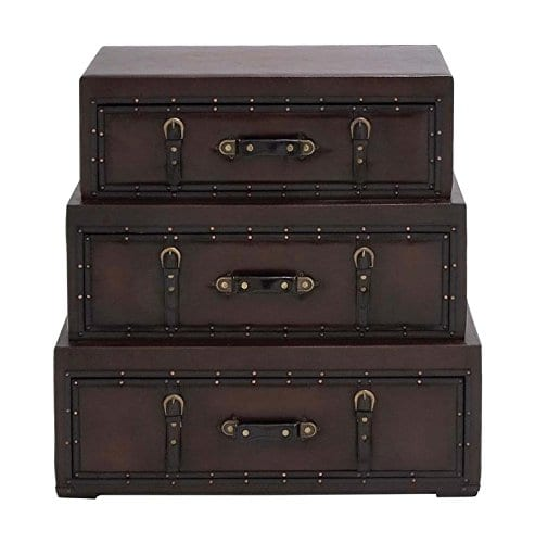 Deco 79 55734 Wood Leather Trunk Dresser 32 X 32 Brown 0 1