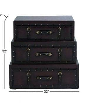 Deco 79 55734 Wood Leather Trunk Dresser 32 X 32 Brown 0 3 300x360