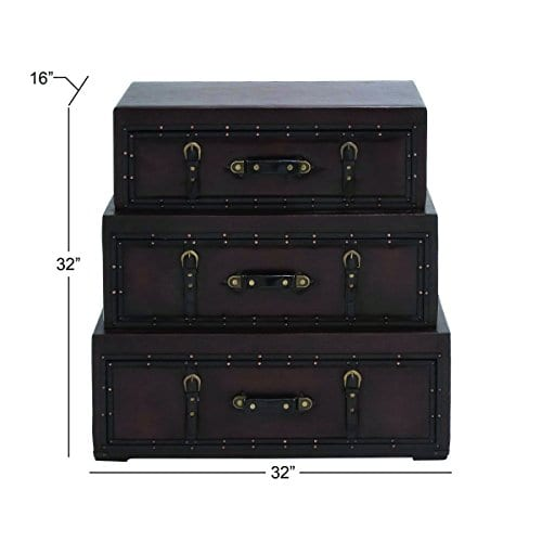 Deco 79 55734 Wood Leather Trunk Dresser 32 X 32 Brown 0 3