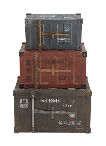Deco 79 69225 Wood Trunks Set Of 3 272420 Multicolor 0 0