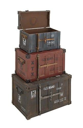 Deco 79 69225 Wood Trunks Set Of 3 272420 Multicolor 0 1